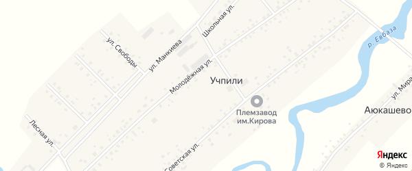 Молодежная улица на карте села Учпили с номерами домов