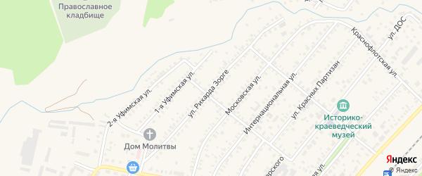 Улица Рихарда Зорге на карте Давлеканово с номерами домов