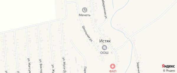 Школьная улица на карте села Истяка с номерами домов