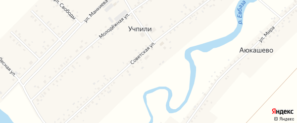 Советская улица на карте села Учпили с номерами домов