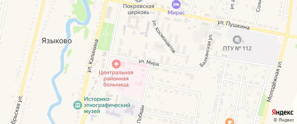 Улица Мира на карте села Языково с номерами домов