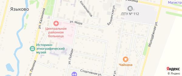 Строительная улица на карте села Языково с номерами домов