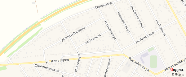 Улица Есенина на карте Давлеканово с номерами домов