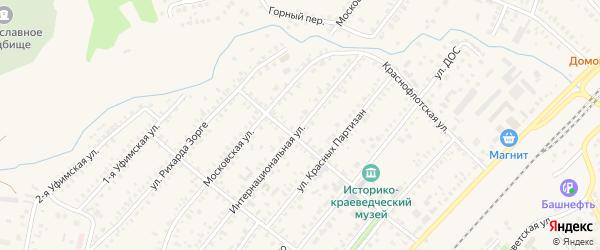 Интернациональная улица на карте Давлеканово с номерами домов