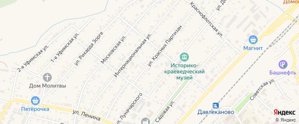 Улица Красных Партизан на карте Давлеканово с номерами домов