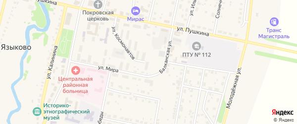 Улица Канзафар бия на карте села Языково с номерами домов