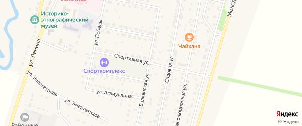 Спортивная улица на карте села Языково с номерами домов