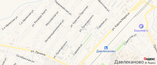 Улица Луначарского на карте Давлеканово с номерами домов