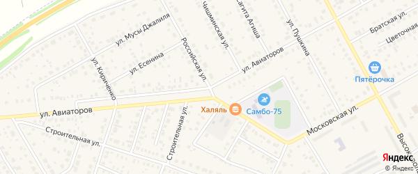 Российская улица на карте Давлеканово с номерами домов