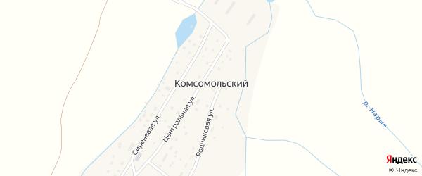 Родниковая улица на карте деревни Комсомольского с номерами домов