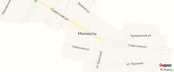 Луговая улица на карте села Миништы с номерами домов