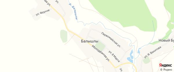 Карта села Балышлы в Башкортостане с улицами и номерами домов