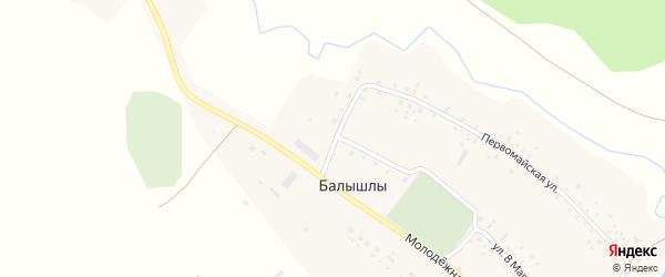 Мостовой переулок на карте села Балышлы с номерами домов