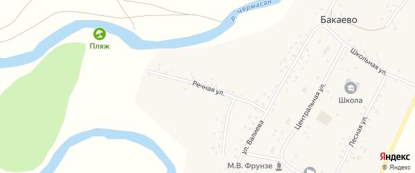 Речная улица на карте села Бакаево с номерами домов
