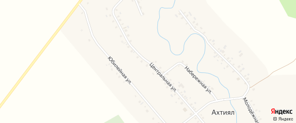 Центральная улица на карте деревни Ахтияла с номерами домов