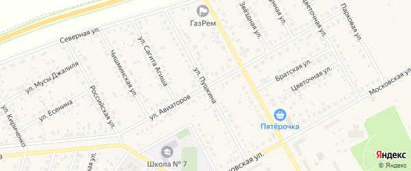 Улица Пушкина на карте Давлеканово с номерами домов
