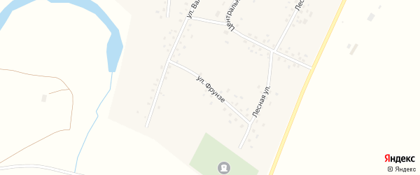 Улица Фрунзе на карте села Бакаево с номерами домов