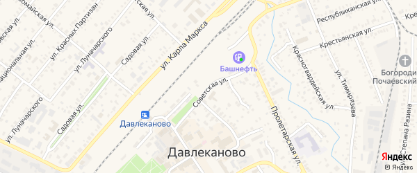 Советская улица на карте Давлеканово с номерами домов