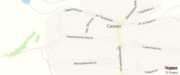 Комсомольская улица на карте деревни Сазово с номерами домов