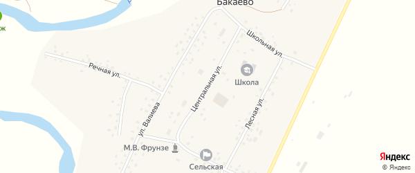 Центральная улица на карте села Бакаево с номерами домов