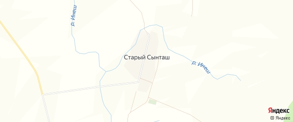 Карта деревни Старого Сынташа в Башкортостане с улицами и номерами домов
