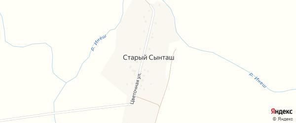 Цветочная улица на карте деревни Старого Сынташа с номерами домов