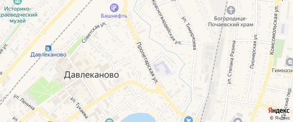 Пролетарская улица на карте Давлеканово с номерами домов