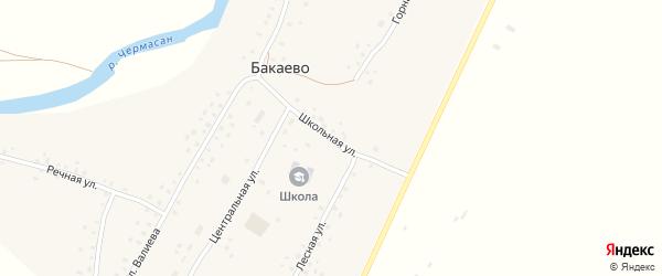 Школьная улица на карте села Бакаево с номерами домов