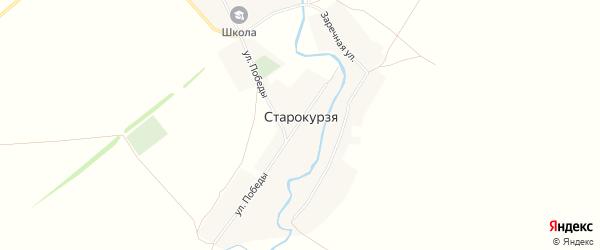 Карта деревни Старокурзя в Башкортостане с улицами и номерами домов