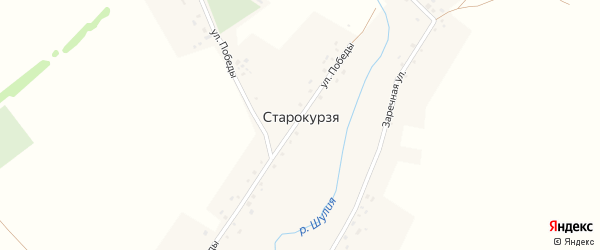 Заречная улица на карте деревни Старокурзя с номерами домов