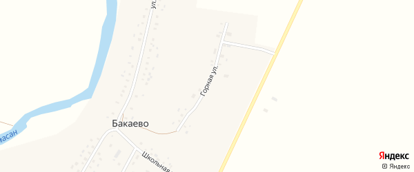 Горная улица на карте села Бакаево с номерами домов