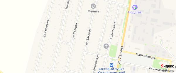 Улица Блюхера на карте села Краснохолмского с номерами домов