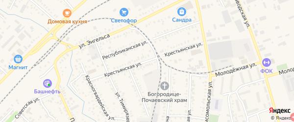 Крестьянская улица на карте Давлеканово с номерами домов