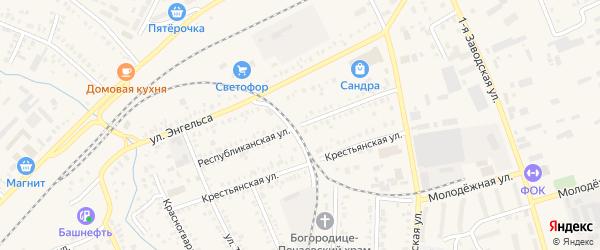 Республиканская улица на карте Давлеканово с номерами домов
