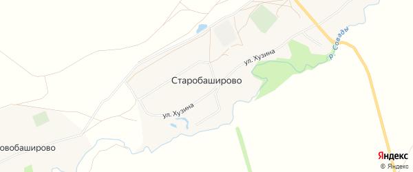 Карта села Старобаширово в Башкортостане с улицами и номерами домов