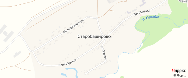 Молодежная улица на карте села Старобаширово с номерами домов