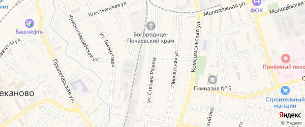 Улица Степана Разина на карте Давлеканово с номерами домов