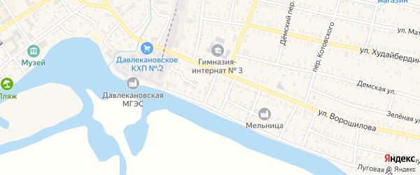 Школьный переулок на карте Давлеканово с номерами домов