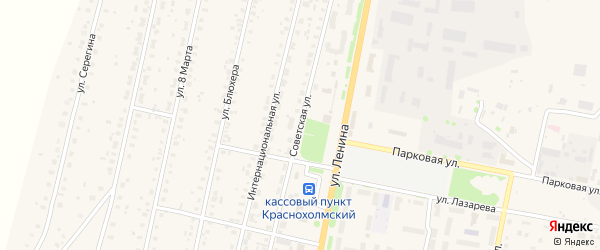 Советская улица на карте села Краснохолмского с номерами домов