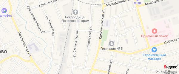 Пионерская улица на карте Давлеканово с номерами домов