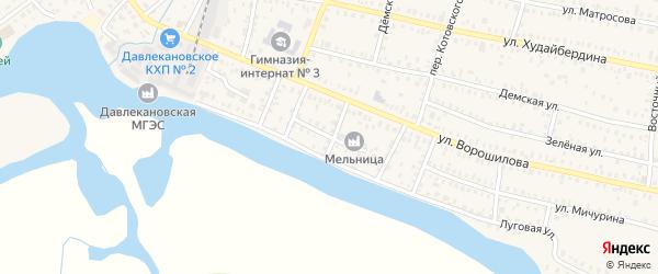Улица Юности на карте Давлеканово с номерами домов