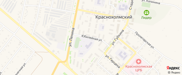 Юбилейная улица на карте села Краснохолмского с номерами домов