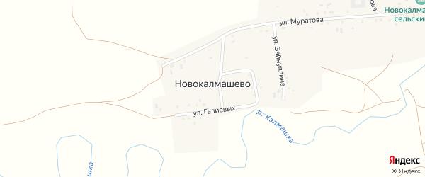 Улица Галиевых на карте села Новокалмашево с номерами домов