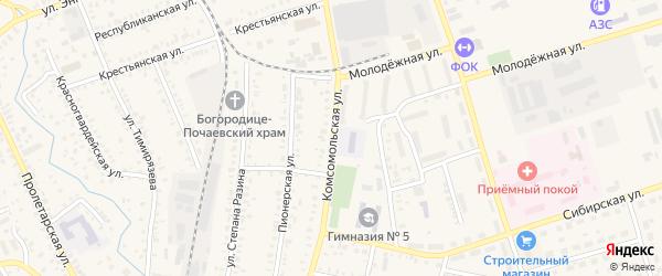 Комсомольская улица на карте Давлеканово с номерами домов