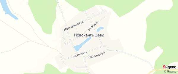 Карта села Новокангышево в Башкортостане с улицами и номерами домов