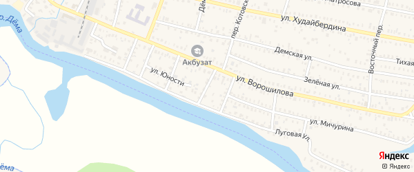 Луговой переулок на карте Давлеканово с номерами домов