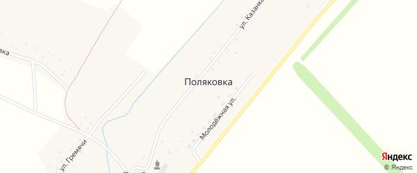 Улица Казанка на карте села Поляковки с номерами домов