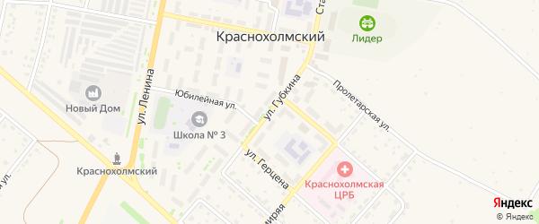 Улица Губкина на карте села Краснохолмского с номерами домов