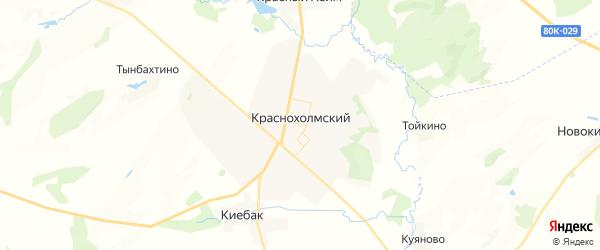 Карта Краснохолмского сельсовета республики Башкортостан с районами, улицами и номерами домов