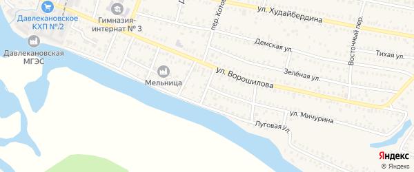 Переулок Чапаева на карте Давлеканово с номерами домов
